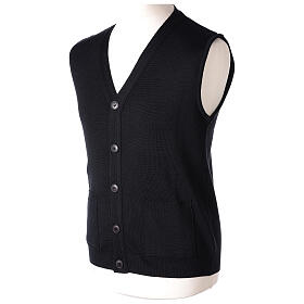 Black button-front cardigan for clergymen with pockets In Primis s3