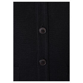 Black button-front cardigan for clergymen with pockets In Primis s4