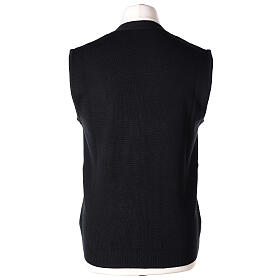 Black button-front cardigan for clergymen with pockets In Primis s6