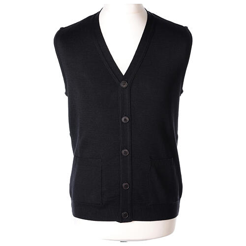 Black button-front cardigan for clergymen with pockets In Primis 1