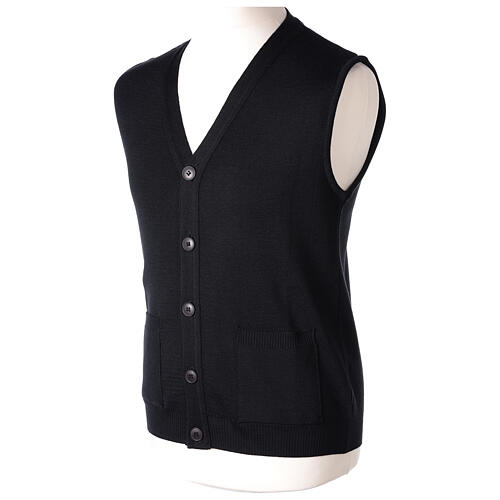 Black button-front cardigan for clergymen with pockets In Primis 3