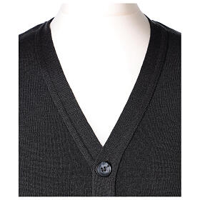 Grey button-front cardigan for clergymen with pockets In Primis s2
