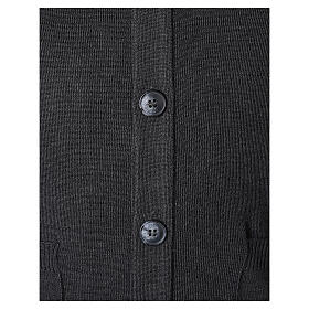 Grey button-front cardigan for clergymen with pockets In Primis s4