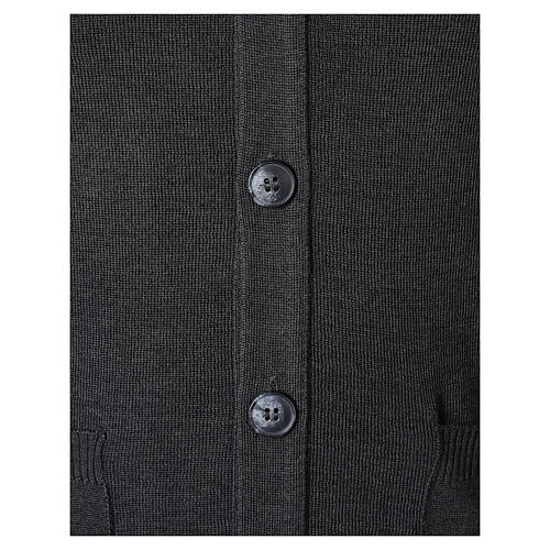 Grey button-front cardigan for clergymen with pockets In Primis 4