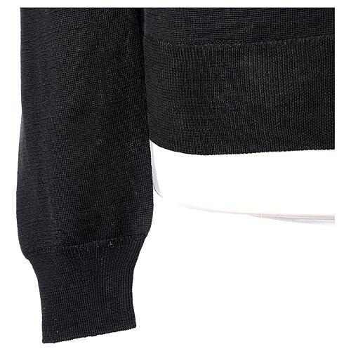 Chaqueta sacerdote negra punto al derecho 50% acrílico 50% lana merina In Primis 5