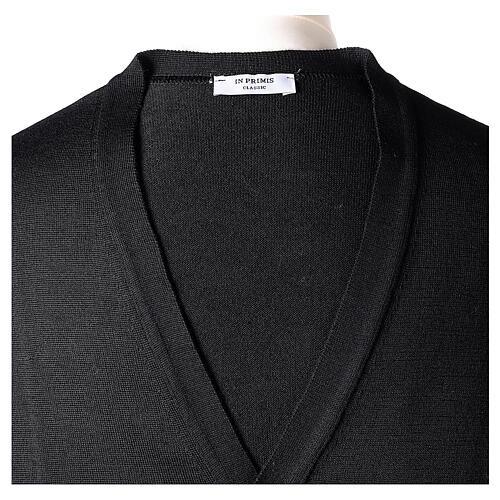 Chaqueta sacerdote negra punto al derecho 50% acrílico 50% lana merina In Primis 7
