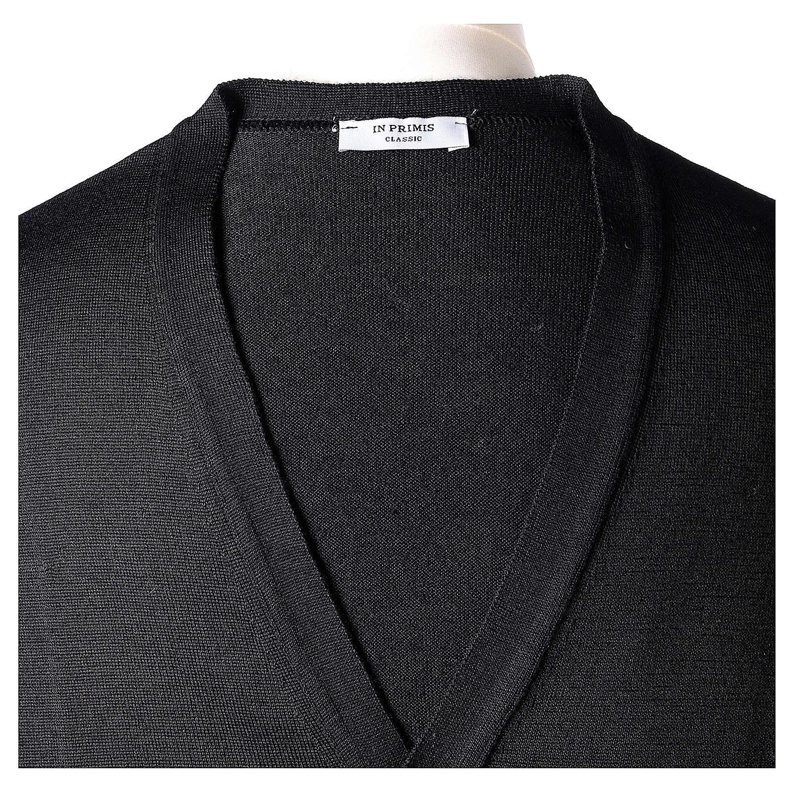 Gilet prêtre noir jersey simple 50% acrylique 50% laine mérinos In Primis 4