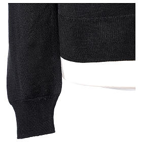 Gilet prêtre noir jersey simple 50% acrylique 50% laine mérinos In Primis s5