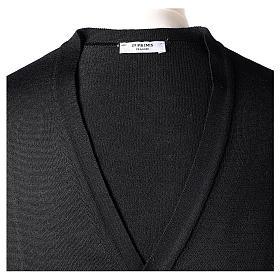 Gilet prêtre noir jersey simple 50% acrylique 50% laine mérinos In Primis s7