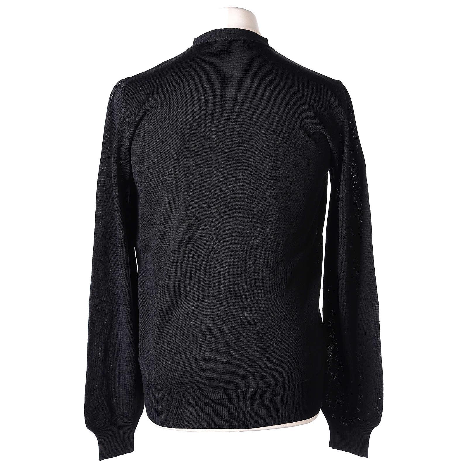 Giacca sacerdote nero maglia rasata 50% acrilico 50% lana merino In Primis 4