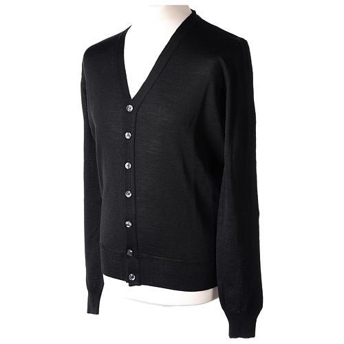 Giacca sacerdote nero maglia rasata 50% acrilico 50% lana merino In Primis 3