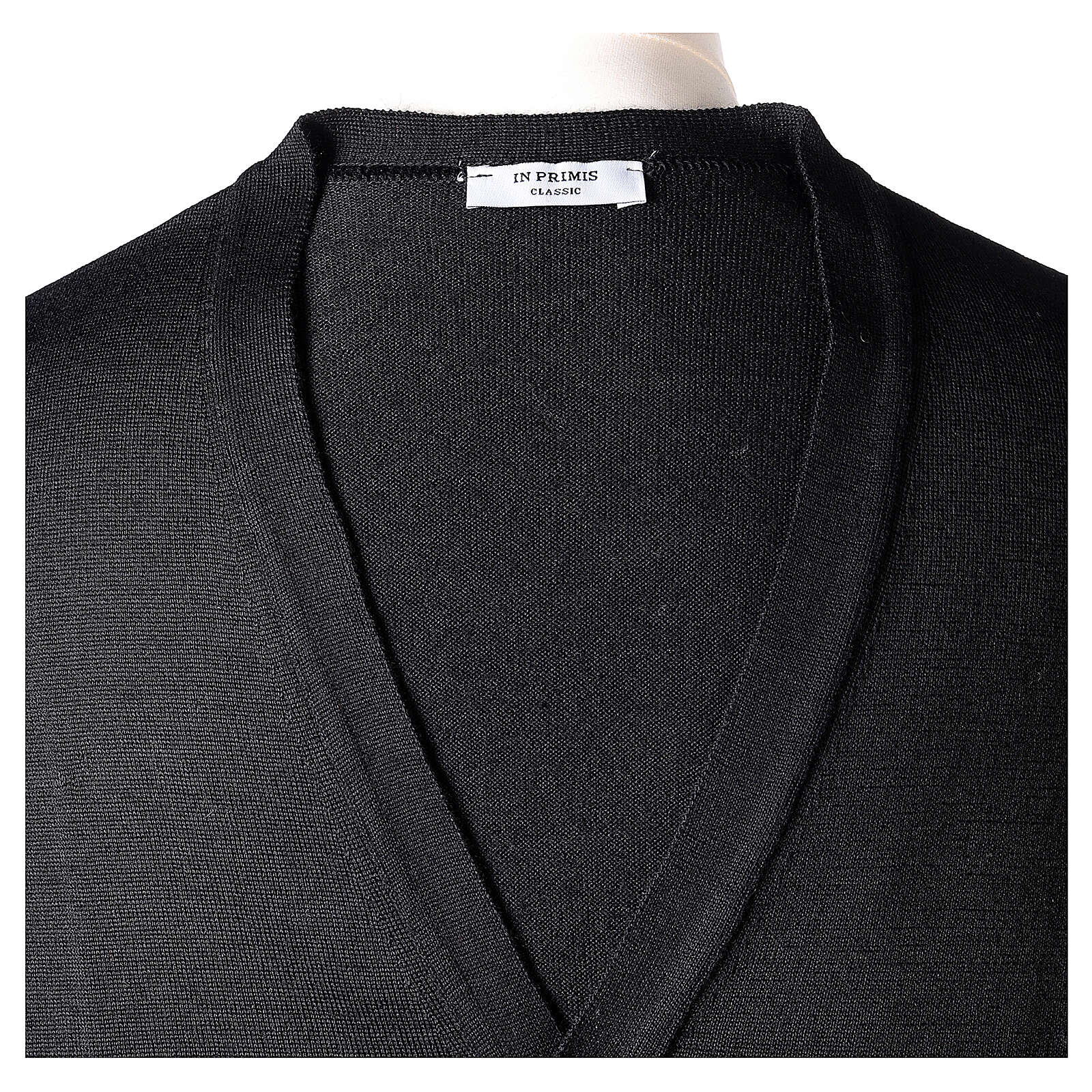 Clergy button-front cardigan black plain knit 50% acrylic 50% merino wool In Primis 4