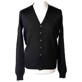 Clergy button-front cardigan black plain knit 50% acrylic 50% merino wool In Primis s1