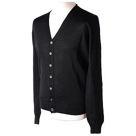 Clergy button-front cardigan black plain knit 50% acrylic 50% merino wool In Primis s3