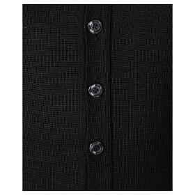 Clergy button-front cardigan black plain knit 50% acrylic 50% merino wool In Primis s4