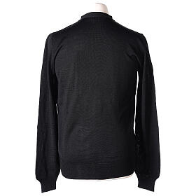 Clergy button-front cardigan black plain knit 50% acrylic 50% merino wool In Primis s6