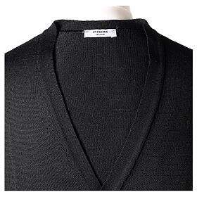 Clergy button-front cardigan black plain knit 50% acrylic 50% merino wool In Primis s7