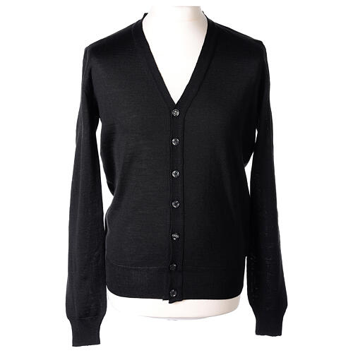 Clergy button-front cardigan black plain knit 50% acrylic 50% merino wool In Primis 1