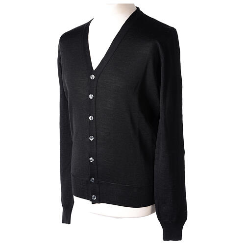 Clergy button-front cardigan black plain knit 50% acrylic 50% merino wool In Primis 3