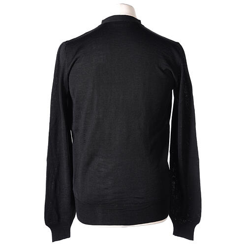 Clergy button-front cardigan black plain knit 50% acrylic 50% merino wool In Primis 6