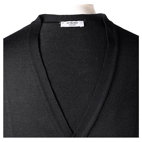 Clergy button-front cardigan black plain knit 50% acrylic 50% merino wool In Primis 7