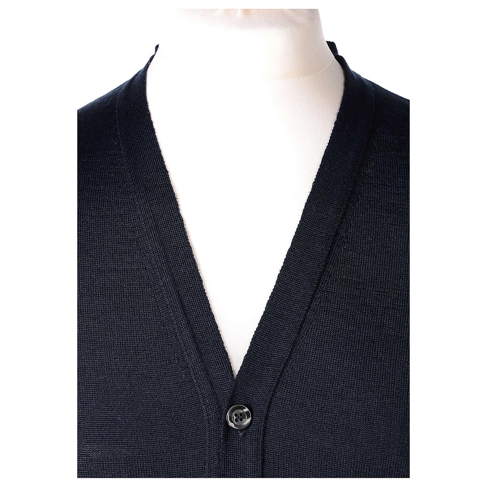 Chaqueta sacerdote azul manga larga punto al derecho 50% acrílico 50% lana merina In Primis 4