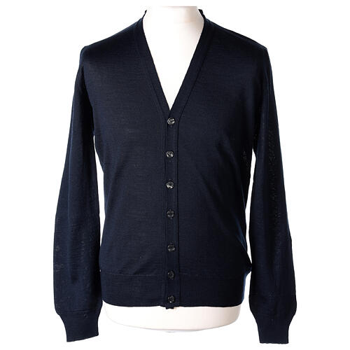 Chaqueta sacerdote azul manga larga punto al derecho 50% acrílico 50% lana merina In Primis 1