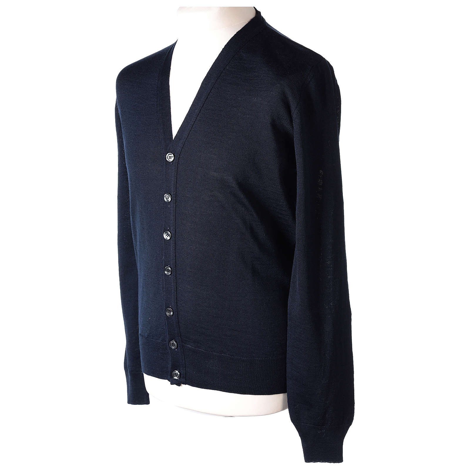 Gilet prêtre bleu jersey simple 50% acrylique 50% laine mérinos In Primis 4
