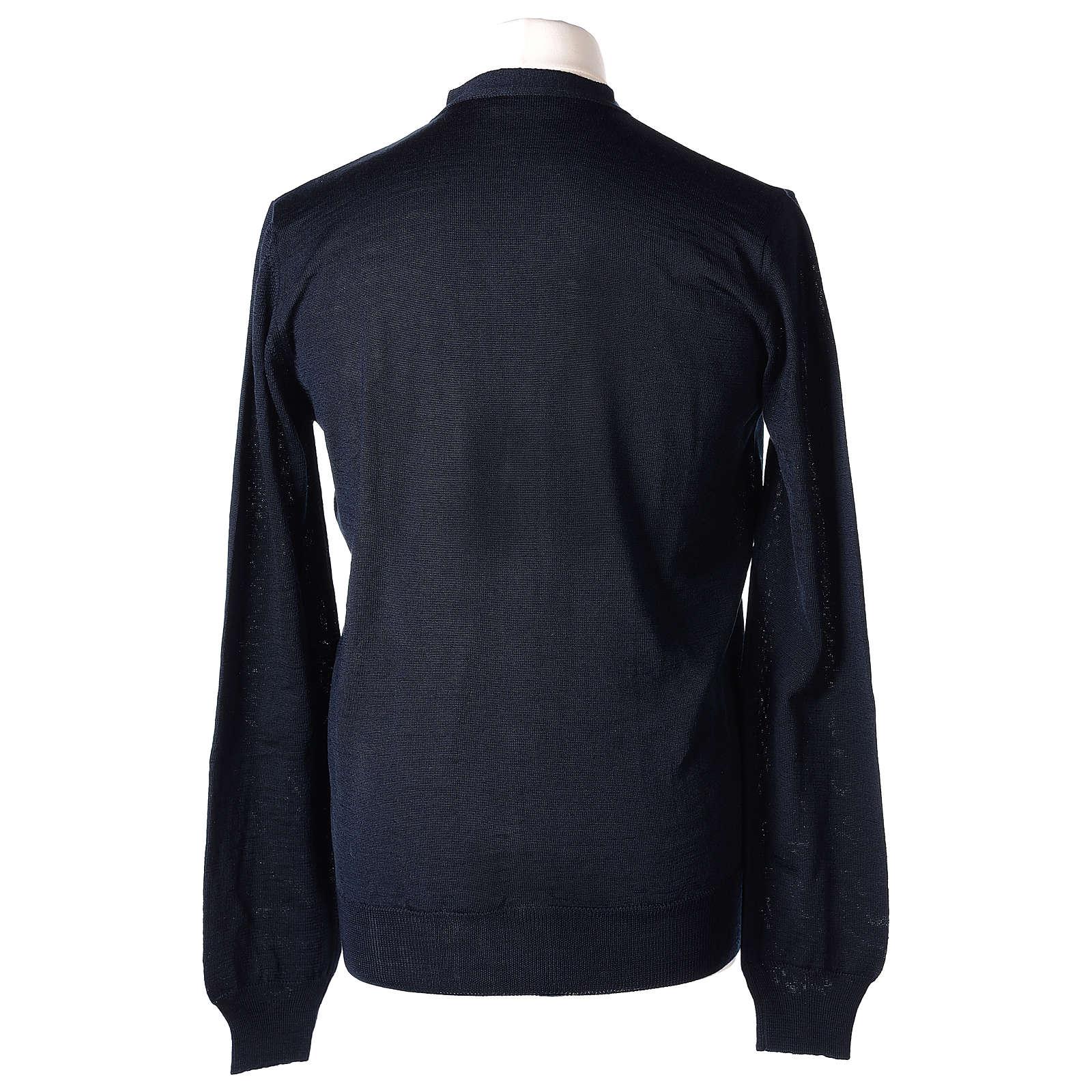 Giacca sacerdote blu manica lunga maglia rasata 50% acrilico 50% lana merino In Primis 4