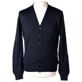 Giacca sacerdote blu manica lunga maglia rasata 50% acrilico 50% lana merino In Primis s1