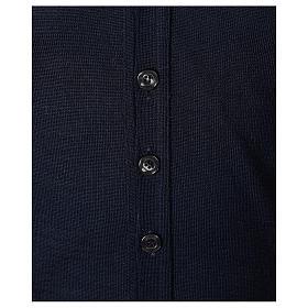 Giacca sacerdote blu manica lunga maglia rasata 50% acrilico 50% lana merino In Primis s4