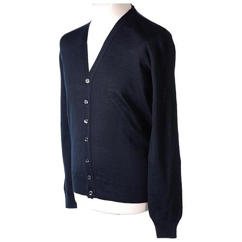 Giacca sacerdote blu manica lunga maglia rasata 50% acrilico 50% lana merino In Primis 3