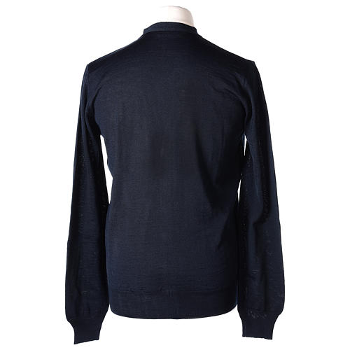 Giacca sacerdote blu manica lunga maglia rasata 50% acrilico 50% lana merino In Primis 6