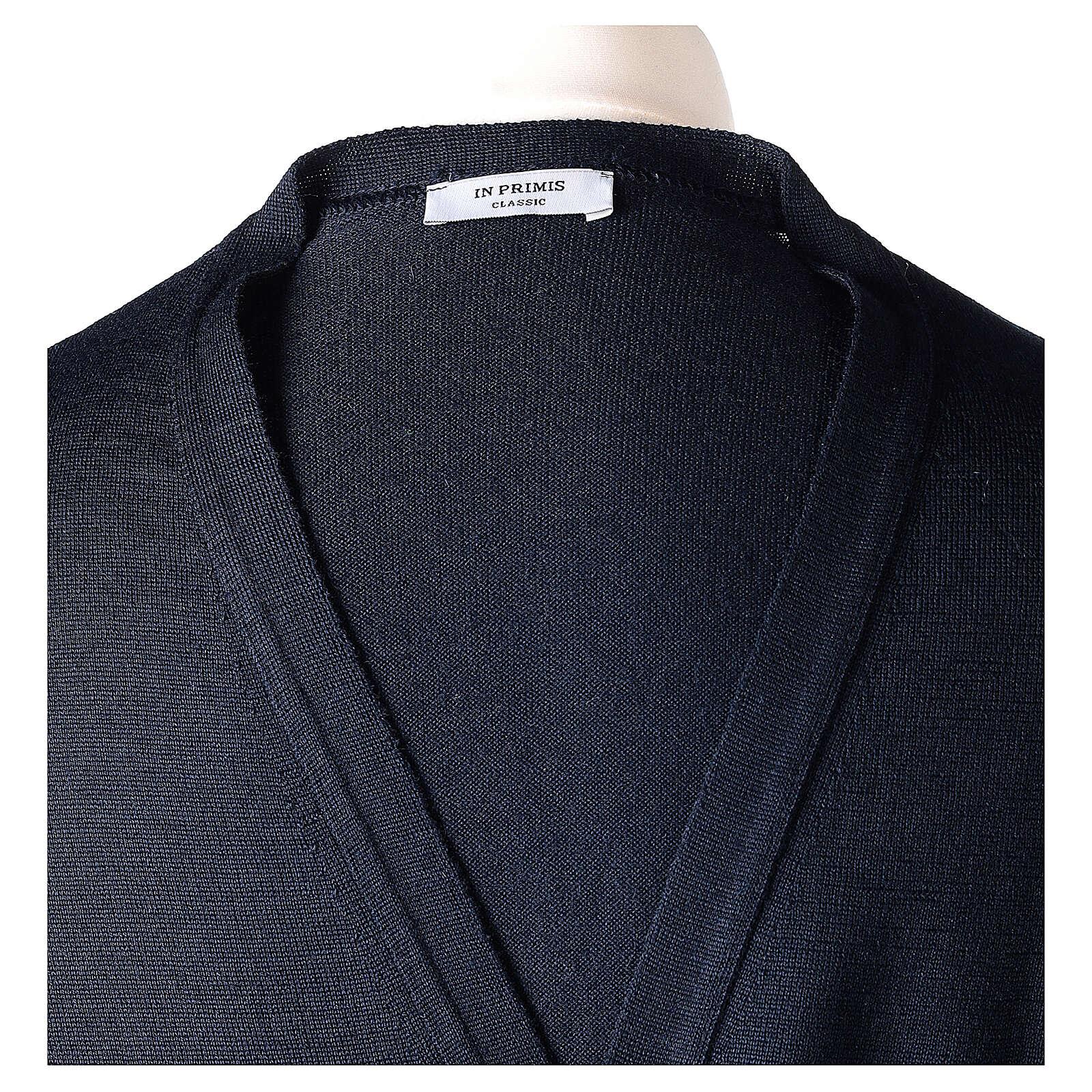 Sweter rozpinany dla księdza granatowy długi rękaw dzianina dżersejowa 50% akryl 50% wełna merynos In Primis 4