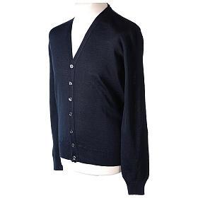 Sweter rozpinany dla księdza granatowy długi rękaw dzianina dżersejowa 50% akryl 50% wełna merynos In Primis s3