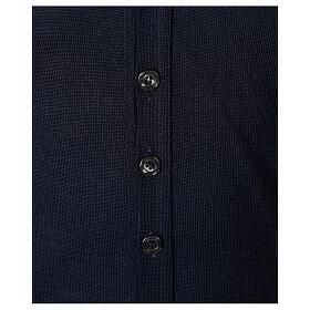 Sweter rozpinany dla księdza granatowy długi rękaw dzianina dżersejowa 50% akryl 50% wełna merynos In Primis s4
