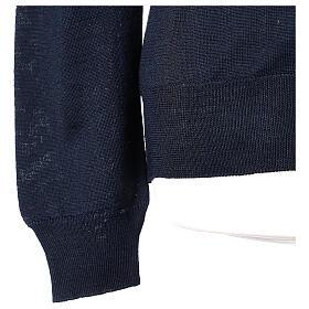 Sweter rozpinany dla księdza granatowy długi rękaw dzianina dżersejowa 50% akryl 50% wełna merynos In Primis s5