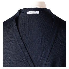 Sweter rozpinany dla księdza granatowy długi rękaw dzianina dżersejowa 50% akryl 50% wełna merynos In Primis s7