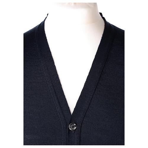 Sweter rozpinany dla księdza granatowy długi rękaw dzianina dżersejowa 50% akryl 50% wełna merynos In Primis 2