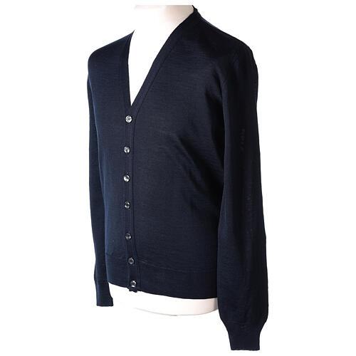 Sweter rozpinany dla księdza granatowy długi rękaw dzianina dżersejowa 50% akryl 50% wełna merynos In Primis 3