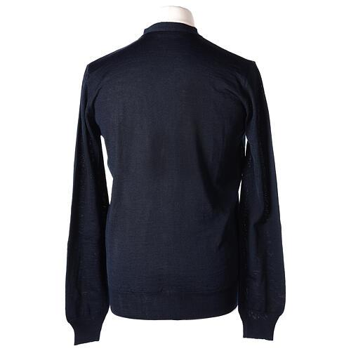 Sweter rozpinany dla księdza granatowy długi rękaw dzianina dżersejowa 50% akryl 50% wełna merynos In Primis 6
