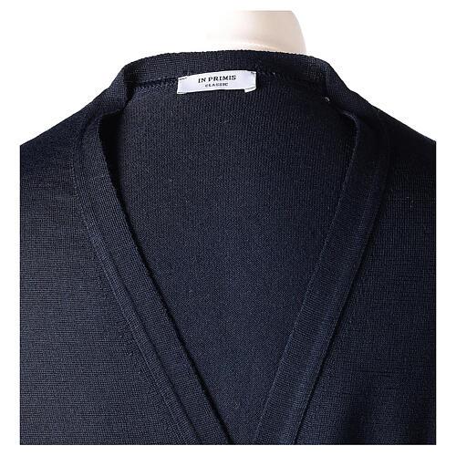 Sweter rozpinany dla księdza granatowy długi rękaw dzianina dżersejowa 50% akryl 50% wełna merynos In Primis 7