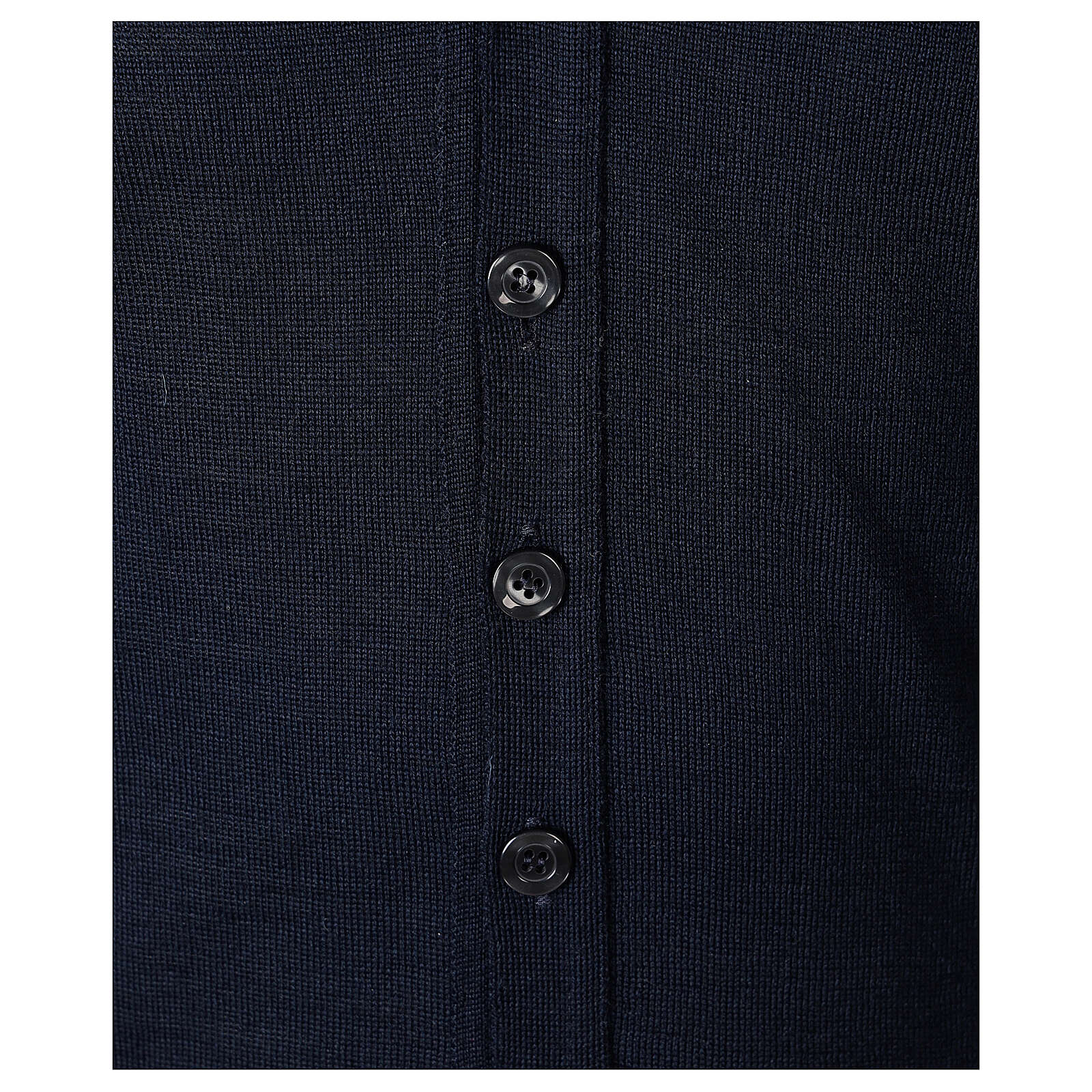 Clergy button-front cardigan blue plain knit 50% acrylic 50% merino wool In Primis 4