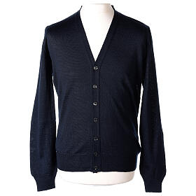 Clergy button-front cardigan blue plain knit 50% acrylic 50% merino wool In Primis s1