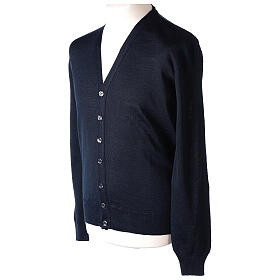 Clergy button-front cardigan blue plain knit 50% acrylic 50% merino wool In Primis s3