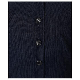Clergy button-front cardigan blue plain knit 50% acrylic 50% merino wool In Primis s4