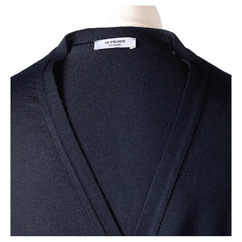 Clergy button-front cardigan blue plain knit 50% acrylic 50% merino wool In Primis 7