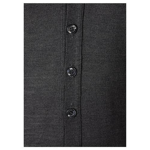 Chaqueta sacerdote gris antracita botones punto al derecho 50% acrílico 50% lana merina In Primis 4