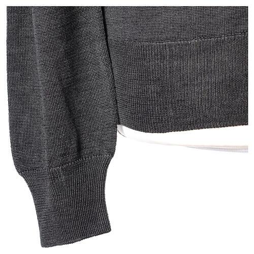 Chaqueta sacerdote gris antracita botones punto al derecho 50% acrílico 50% lana merina In Primis 5