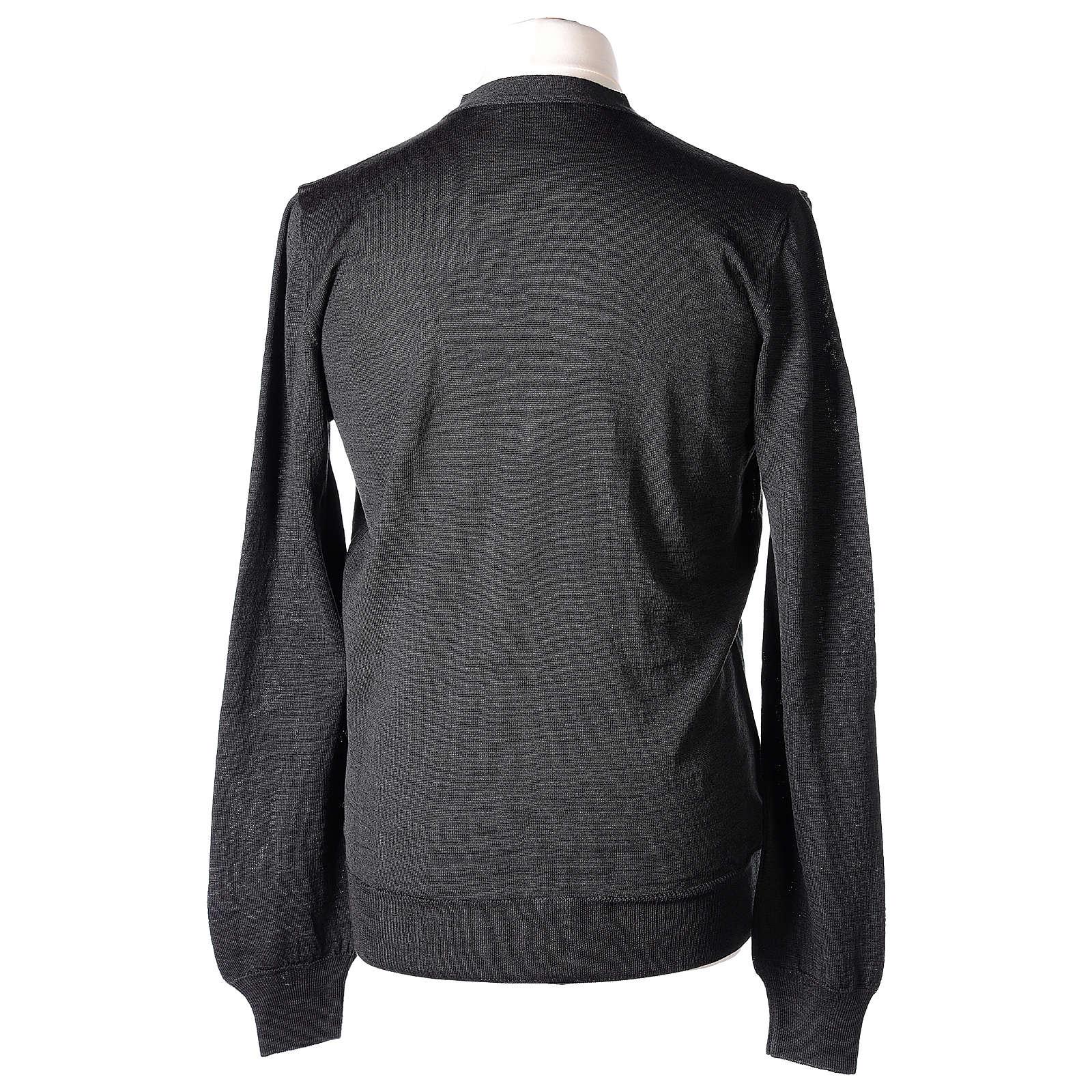 Gilet prêtre gris jersey simple 50% acrylique 50% laine mérinos In Primis 4